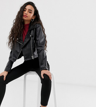Asos DESIGN Petite ultimate leather look biker jacket-Black