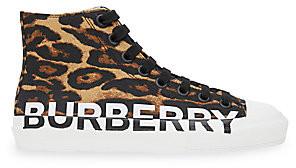 Burberry Women's Larkhall Logo Leopard-Print Canvas Sneakers