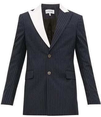Loewe Contrast Lapel Pinstriped Wool Jacket - Mens - Navy White