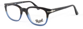 Persol Dark Havana & Blue Gradient Square Eyeglasses