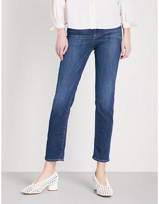 Frame Ladies Blue Cotton Le High Straight Slim-Fit Jeans, Size: 23