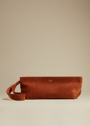 KHAITE The Alma Wristlet in Cognac Suede