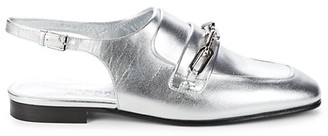 Burberry Cheltown Metallic-Leather Slingback Loafers