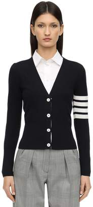 Thom Browne INTARSIA V NECK COTTON KNIT CARDIGAN