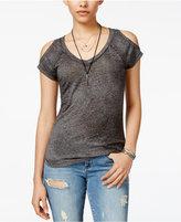 Planet Gold Juniors' Cold-Shoulder Burnout T-Shirt