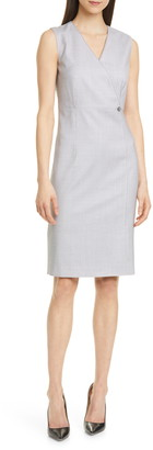 BOSS Destia Check Wool Sheath Dress