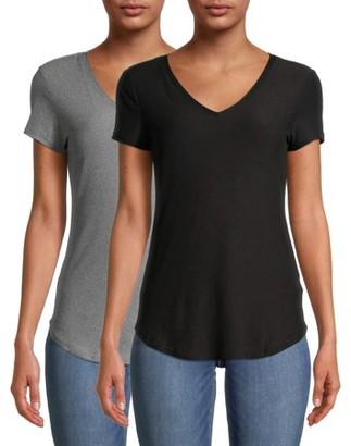 No Boundaries Juniors' Varsity Stripe V-Neck Pocket T-Shirt
