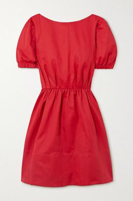 STAUD Alix Open-back Cotton-blend Faille Mini Dress - Red