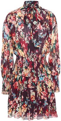 Zimmermann Tie-neck Shirred Floral-print Cotton And Silk-blend Mini Dress