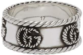 Gucci Silver Double G Marmont Chain Ring