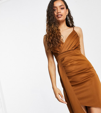 Jaded Rose Petite wrap drape front satin midi dress in chocolate brown