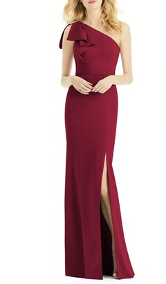 After Six Bow One-Shoulder Trumpet Gown