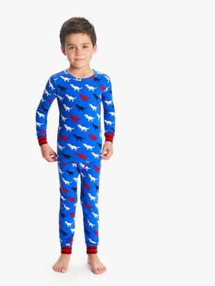 Hatley Boys' T-Rex Print Pyjamas, Blue