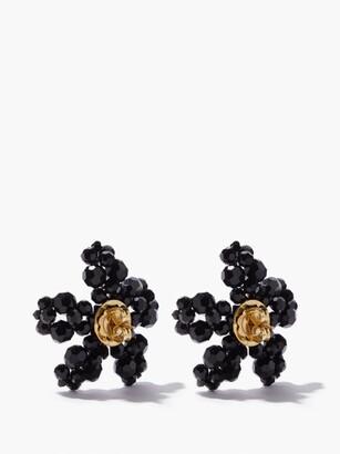 Simone Rocha Crystal Flower Earrings - Black