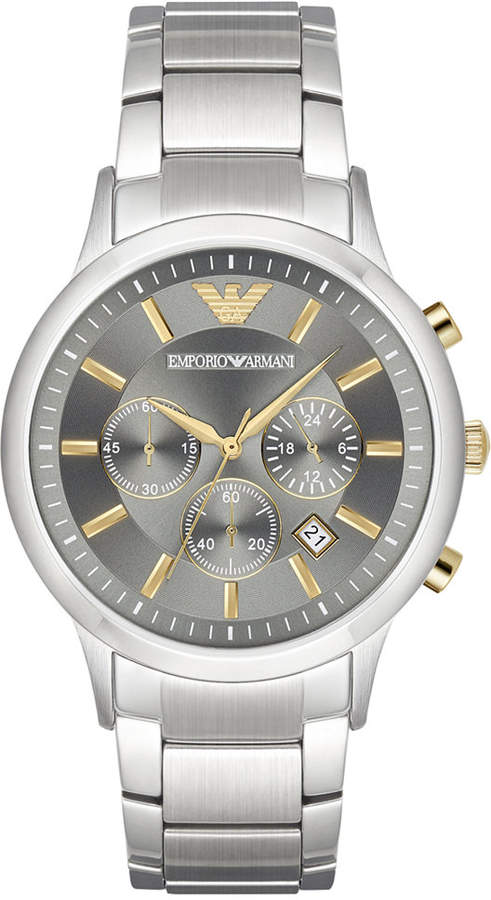 Emporio Armani Men's Chronograph Stainless Steel Bracelet Watch 43mm AR11047