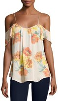 Joie Adorlee Cold-Shoulder Floral-Print Silk Top, Orange