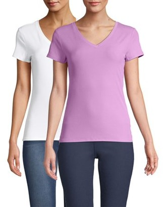 No Boundaries Juniors' Short Sleeve Brushed Rib V-Neck T-Shirt, 2 Pack