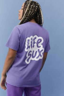 Life Sux Lilac T-Shirt - Purple XS at Urban Outfitters