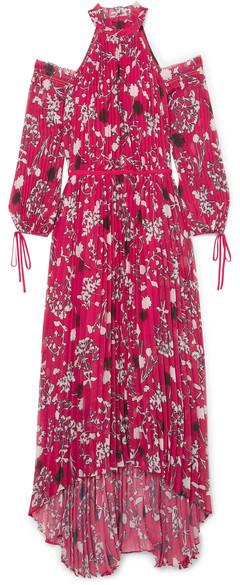 Self-Portrait SelfPortrait - Cold-shoulder Pleated Printed Chiffon Maxi Dress