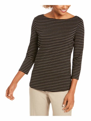 Charter Club Womens Black Shimmering Pinstripe 3/4 Sleeve Boat Neck Top Petites UK Size: 8
