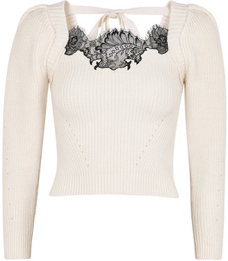 Self-Portrait Ivory lace-trimmed ribbed-knit jumper