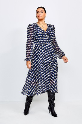Karen Millen Curve Geo Print Wrap Dress