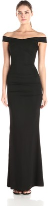 Nicole Miller Women's Twill Crepe Off The Shoulder Gown