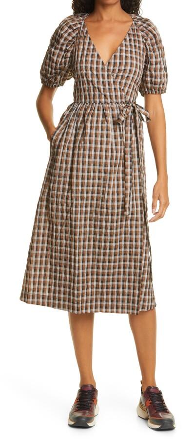 Baum und Pferdgarten Adalaine Gingham Wrap Front Puff Sleeve Dress