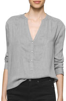 Calvin Klein Henley Collar Long Sleeve Top