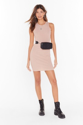 Nasty Gal Womens Racerback Against Time Ribbed Mini Dress - Sand