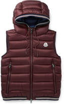 Moncler Amiens Quilted Shell Hooded Down Gilet - Burgundy