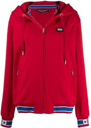 Dolce & Gabbana Logo Applique Zipped Hoodie