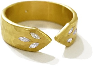 Cathy Waterman Marquise Diamond Thinner Point Yellow Gold Band Ring