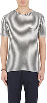 Barneys New York Men's Striped Cotton-Blend T-Shirt-GREY