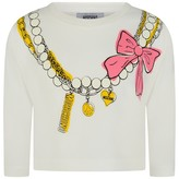 Moschino MoschinoGirls Ivory Cropped Necklace Print Top