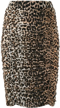 Ganni Leopard Print Ruched Pencil Skirt