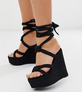 Asos Design DESIGN Wide Fit Will Power tie leg rope wedges in black
