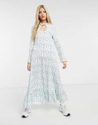 Vintage Supply high neck long sleeve maxi smock dress in floral