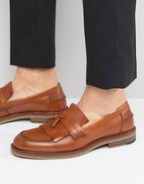 Asos Smart Loafers in Tan Leather With Fringe Detail