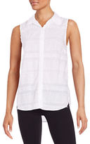 Splendid Sleeveless Fringed Button-Down Shirt