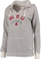 Unbranded Women's Blue 84 Cream Washington State Cougars Striped French Terry V-Neck Hoodie