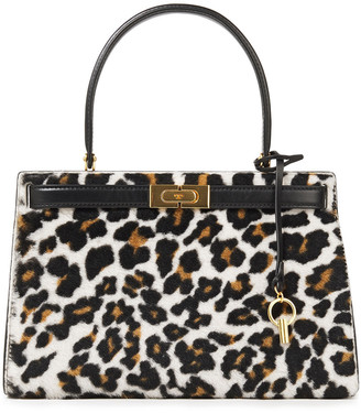 Tory Burch Lee Radziwill Leopard-print Shearling And Leather Tote