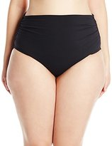 Anne Cole Women's Plus-Size Solid High Waist To Foldover Shirred Bikini Bottoms