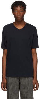 Jil Sander Navy Cotton V-Neck T-Shirt