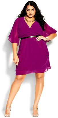 City Chic Colour Wrap Dress - magenta