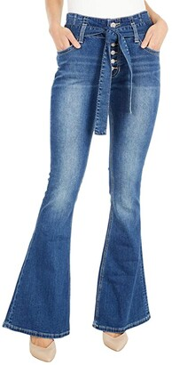 Rock and Roll Cowgirl High-Rise Flare with Button Fly Closure and Denim Self Belt in Medium Wash WHN6117 (Medium Wash) Women's Jeans