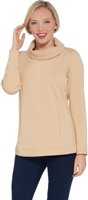 Denim & Co. Active French Terry Long-Sleeve Top w Sherpa Collar