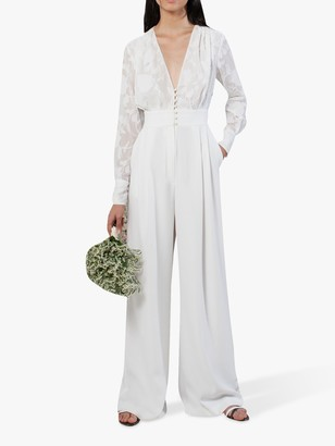 French Connection Annalise Floral Print Wide Leg Jumpsuit, Summer White