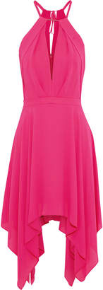 Halston Bead-embellished Crepe De Chine Mini Dress