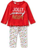 Mud Pie Baby Girls Newborn-18 Months Christmas Jolly Tunic & Dotted Leggings Set